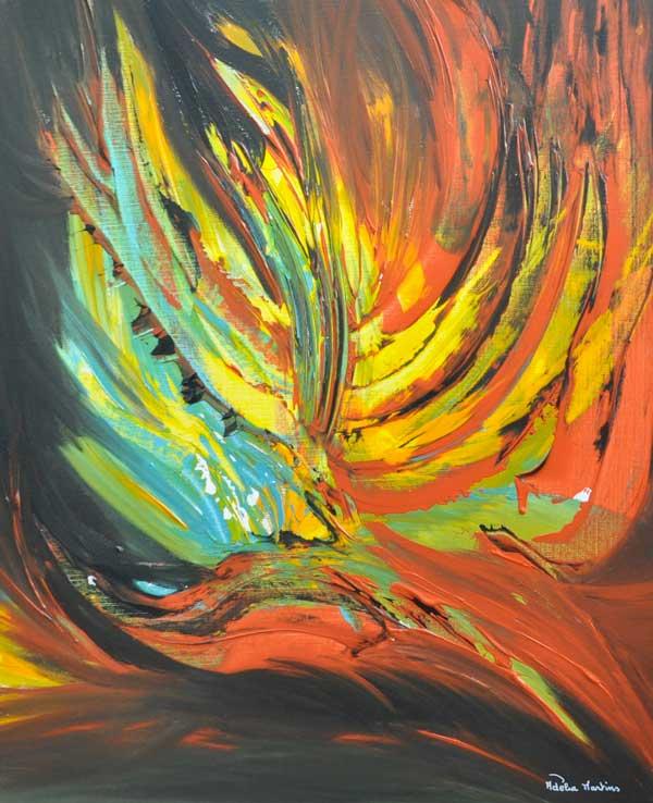 tableau aux couleurs fauves abstrait