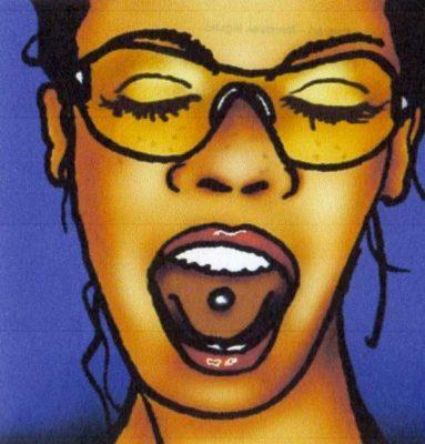 peinture de femme ouvrant la bouche avec percing sur la langue